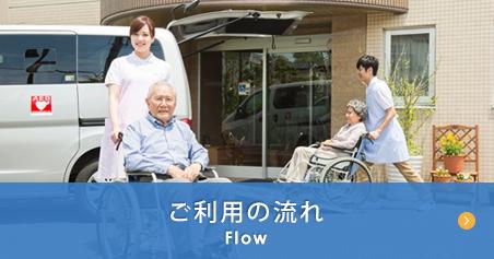ご利用の流れへのリンクバナー・施設の玄関先に居る車椅子に座る老人と介助